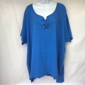 Woman Within Women Blue Henley Lace Up 4X